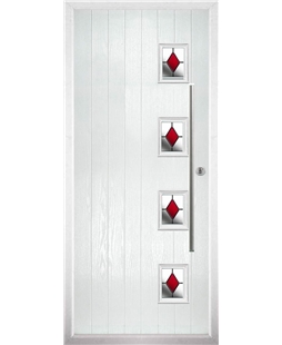 The Norwich Composite Door in White with Red Diamonds