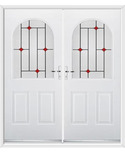 Kentucky French Rockdoor in White with Red Diamonds
