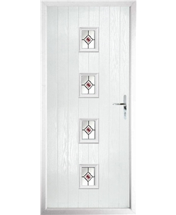 The Uttoxeter Composite Door in White with Red Fusion Ellipse