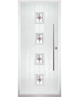 The Leicester Composite Door in White with Red Fusion Ellipse