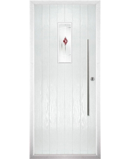 The Zetland Composite Door in White with Red Murano