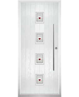The Leicester Composite Door in White with Red Murano