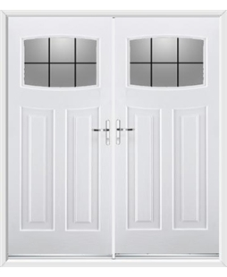 Newark French Rockdoor in White with Square Lead
