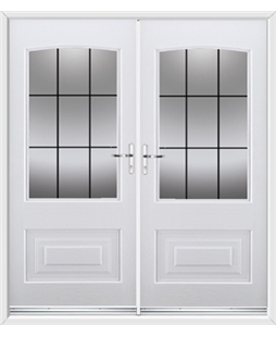 Portland French Rockdoor in White with Square Lead