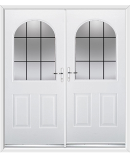 Kentucky French Rockdoor in White with Square Lead
