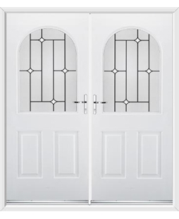 Kentucky French Rockdoor in White with White Diamonds