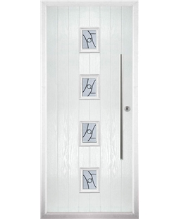 The Leicester Composite Door in White with Zinc Art Abstract