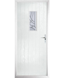 The Taunton Composite Door in White with Zinc Art Abstract