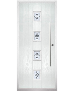 The Leicester Composite Door in White with Zinc Art Elegance