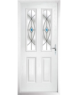 The Aberdeen Composite Door in White with Blue Fusion Ellipse