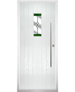 The Zetland Composite Door in White with Green Crystal Harmony