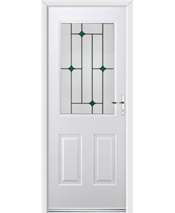 Ultimate Windsor Rockdoor in White with Green Diamonds