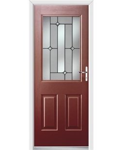 Ultimate Windsor Rockdoor in Ruby Red with Linear Glazing