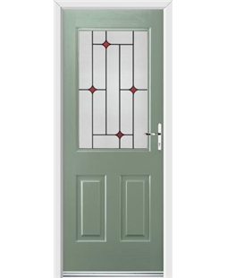 Ultimate Windsor Rockdoor in Chartwell Green with Red Diamonds