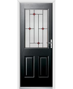 Ultimate Windsor Rockdoor in Onyx Black with Red Diamonds