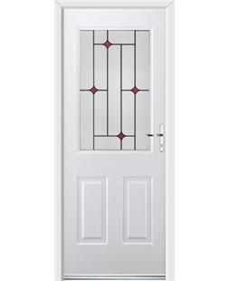 Ultimate Windsor Rockdoor in White with Red Diamonds