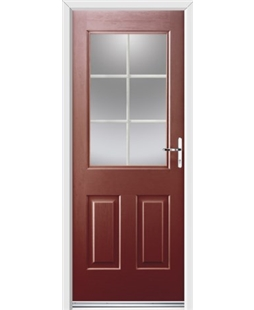 Ultimate Windsor Rockdoor in Ruby Red with White Georgian Bar