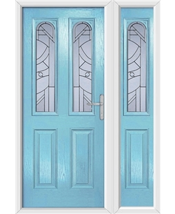 The Aberdeen Composite Door in Blue (Duck Egg) with Zinc Art Abstract and matching Side Panel