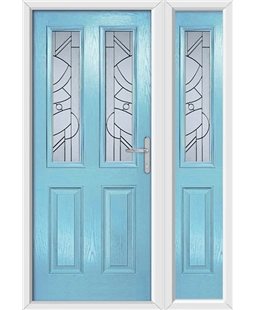 The Cardiff Composite Door in Blue (Duck Egg) with Zinc Art Abstract and matching Side Panel