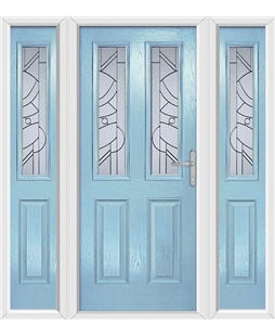 The Cardiff Composite Door in Blue (Duck Egg) with Zinc Art Abstract and matching Side Panels