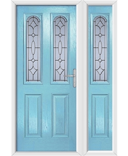 The Aberdeen Composite Door in Blue (Duck Egg) with Zinc Art Clarity and matching Side Panel