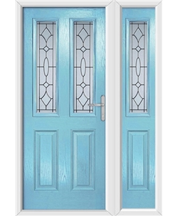 The Cardiff Composite Door in Blue (Duck Egg) with Zinc Art Clarity and matching Side Panel