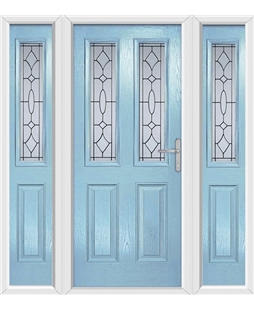 The Cardiff Composite Door in Blue (Duck Egg) with Zinc Art Clarity and matching Side Panels