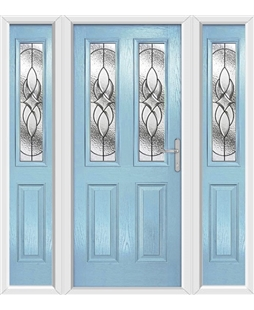 The Cardiff Composite Door in Blue (Duck Egg) with Zinc Art Elegance and matching Side Panels