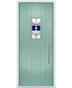 The Zetland Composite Door in Green (Chartwell) with Blue Crystal Bohemia