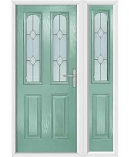 The Aberdeen Composite Door in Green (Chartwell) with Classic Glazing and matching Side Panel