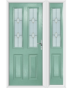 The Cardiff Composite Door in Green (Chartwell) with Classic Glazing and matching Side Panel