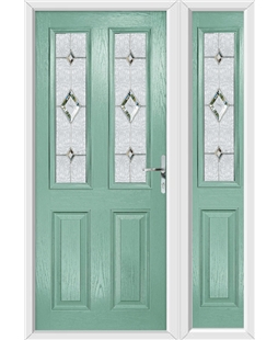 The Cardiff Composite Door in Green (Chartwell) with Crystal Diamond and matching Side Panel