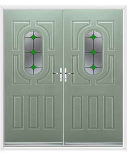 Arcacia French Rockdoor in Chartwell Green with Green Diamonds