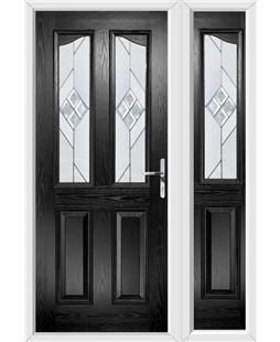 The Birmingham Composite Door in Black with Eclipse Glazing and Matching Side Panel