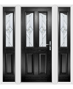 The Birmingham Composite Door in Black with Eclipse Glazing and matching Side Panels