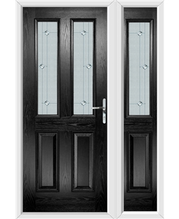 The Cardiff Composite Door in Black with Jewel Glazing and Matching Side Panel
