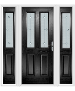 The Cardiff Composite Door in Black with Jewel Glazing and matching Side Panels