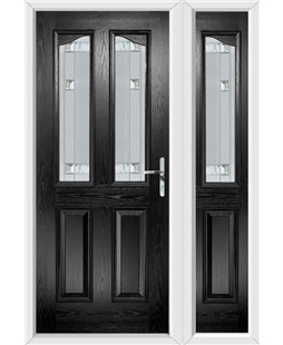 The Birmingham Composite Door in Black with Milan Glazing and Matching Side Panel