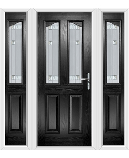 The Birmingham Composite Door in Black with Milan Glazing and matching Side Panels