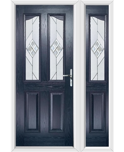 The Birmingham Composite Door in Blue with Eclipse Glazing and Matching Side Panel