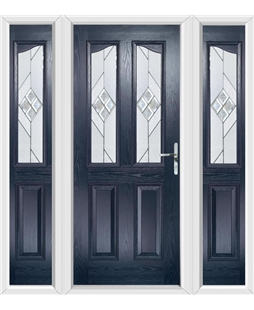 The Birmingham Composite Door in Blue with Eclipse Glazing and matching Side Panels