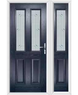 The Cardiff Composite Door in Blue with Jewel Glazing and Matching Side Panel