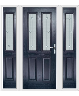 The Cardiff Composite Door in Blue with Jewel Glazing and matching Side Panels