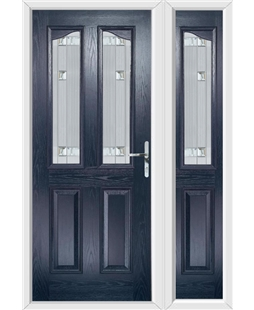 The Birmingham Composite Door in Blue with Milan Glazing and Matching Side Panel