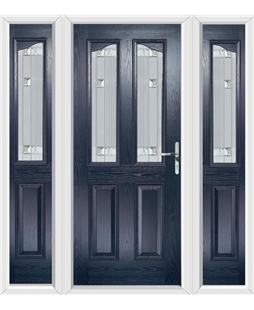 The Birmingham Composite Door in Blue with Milan Glazing and matching Side Panels