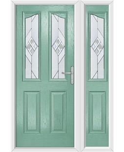 The Birmingham Composite Door in Green (Chartwell) with Eclipse Glazing and Matching Side Panel