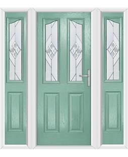 The Birmingham Composite Door in Green (Chartwell) with Eclipse Glazing and matching Side Panels