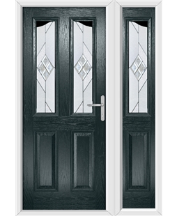 The Birmingham Composite Door in Grey (Anthracite) with Eclipse Glazing and Matching Side Panel