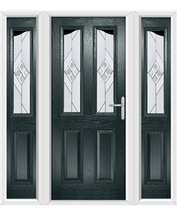 The Birmingham Composite Door in Grey (Anthracite) with Eclipse Glazing and matching Side Panels