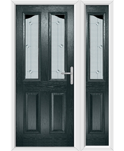 The Birmingham Composite Door in Grey (Anthracite) with Jewel Glazing and Matching Side Panel